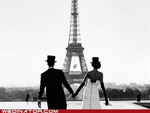 bride,eiffel tower,funny wedding photos,groom,paris
