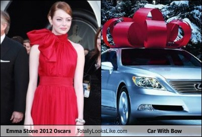 Emma Stone 2012 Oscars Totally Looks Like Car With Bow