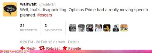 academy awards,optimus prime,oscars,transformers,tweets
