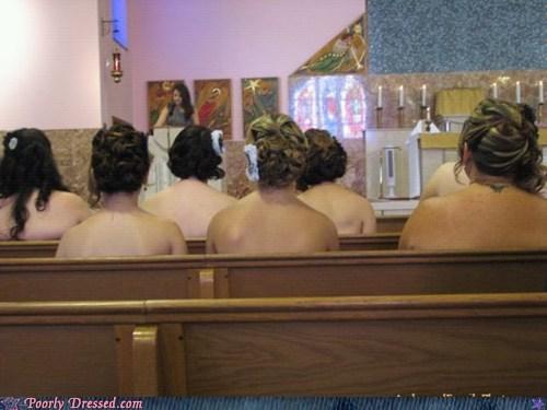 church,girls,no clothes,pews,tan,women