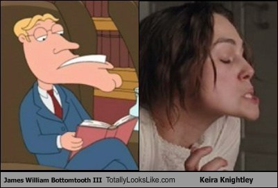 James William Bottomtooth III from Family Guy Totally Looks Like Keira Knightley in A Dangerous Method