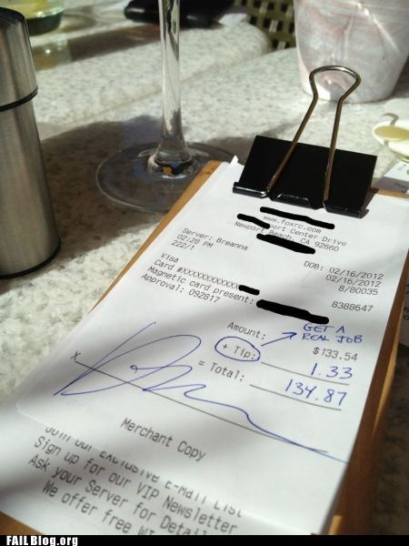Leaving a Tip FAIL