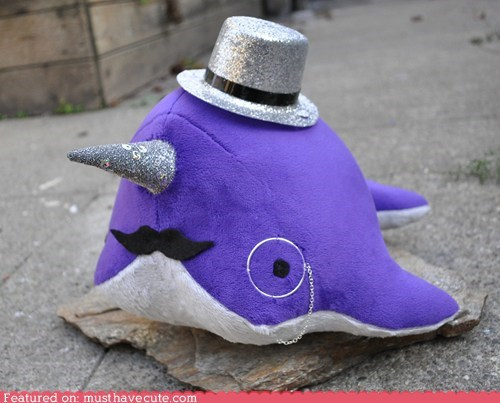 classy,dandy,narwhal,Plush,toy