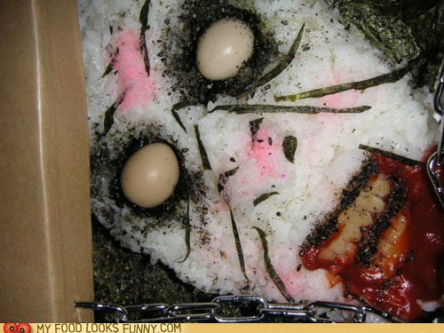bento,Blood,demon,eggs,eyes,face,ketchup,nightmares,rice,scary,seaweed