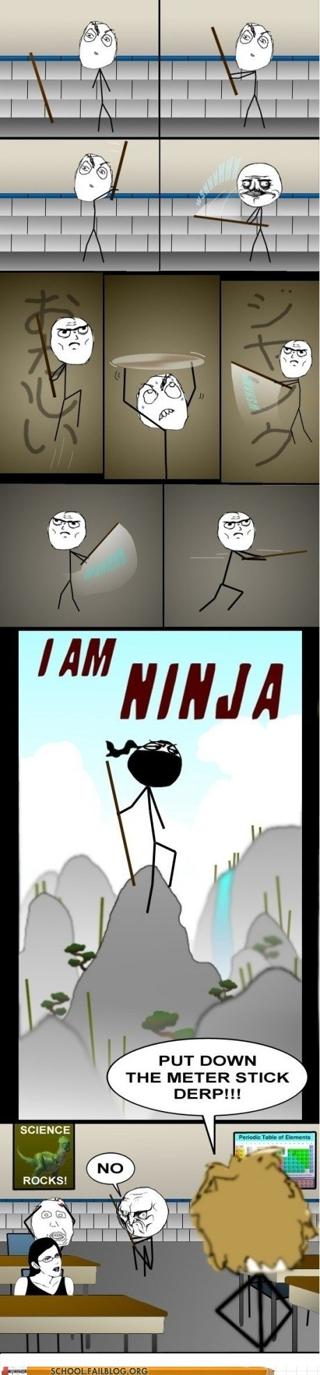 get away,its-mine,ninja,samurai sword,yard stick
