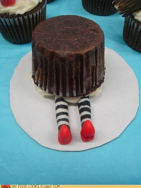 cupcake,fondant,legs,upside down,wicked witch,wizard of oz