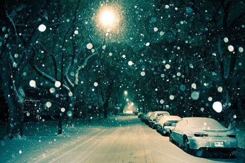 Winter Night in Winnipeg, Manitoba, Canada