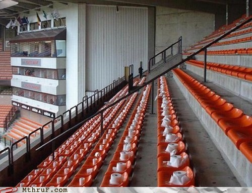 rows,stadium,toilet paper,wet