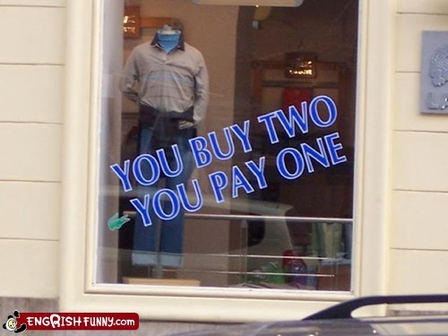 buy one get one,engrish,lacoste,shirt,sign