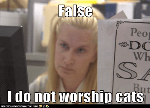 False  I do not worship cats
