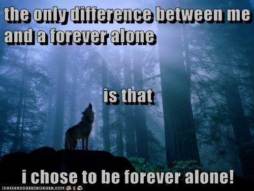 the only difference between me and a forever alone is that i chose to be forever alone!