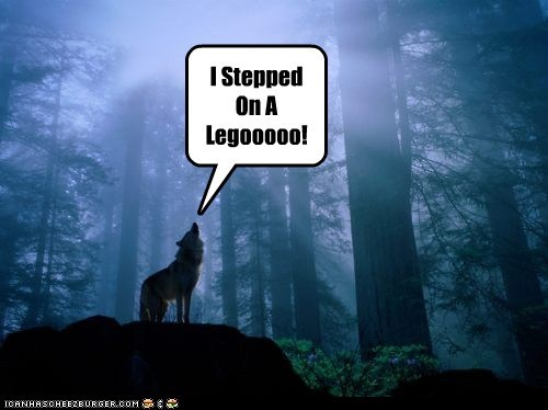 best of the week,caption,howl,howling,lego,legos,ouch,pain,stepped on a lego,wolf,wolves