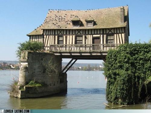 bridge,house,pilings,straddle,water