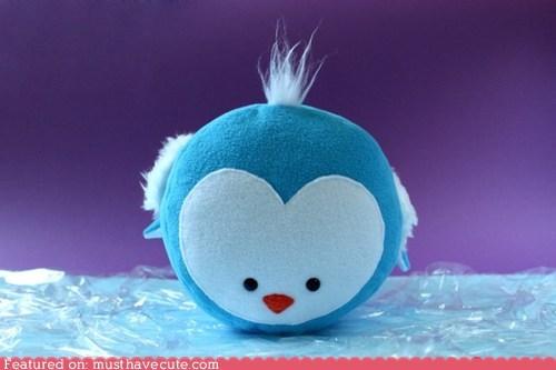 blue,penguin,Plush,round,stuffed