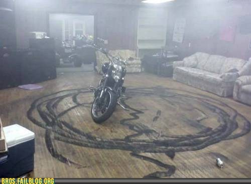indoors,motorcycle,tread marks