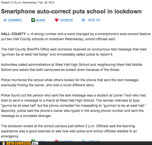 Autocorrect Auto-Locks an Entire School