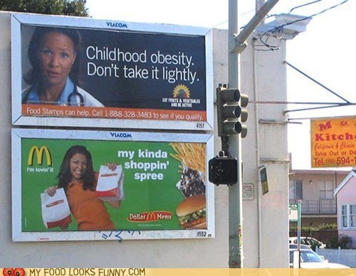 billboards,fast food,fat,juxtaposition,McDonald's,obesity