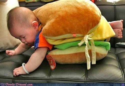baby,burger,cheezburger,costume,food
