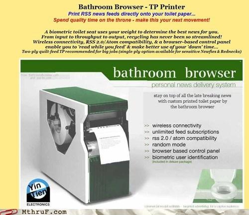 bathroom browser,printer,rss feed,toilet,toilet roll