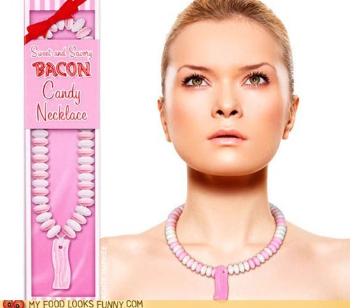 bacon,candy,edible,Jewelry,necklace