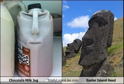 Chocolate Milk Jug Totally Looks Like Easter Island Head