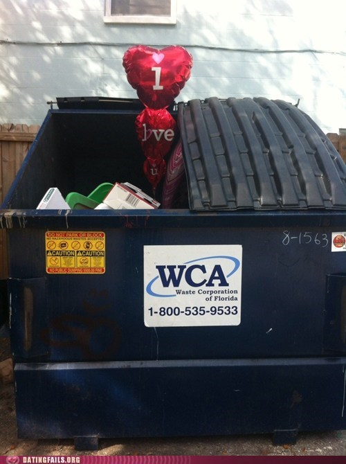 day after valentines,dumped,dumpsters,sad balloon