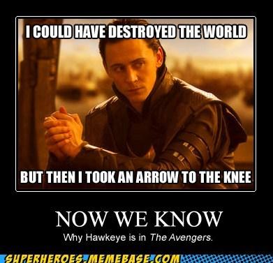 arrow to the knee,avengers,hawkeye,superheroes,Super-Lols