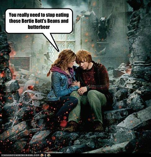 butterbeer,destroyed,emma watson,Harry Potter,hermione granger,ron weasely,rupert grint