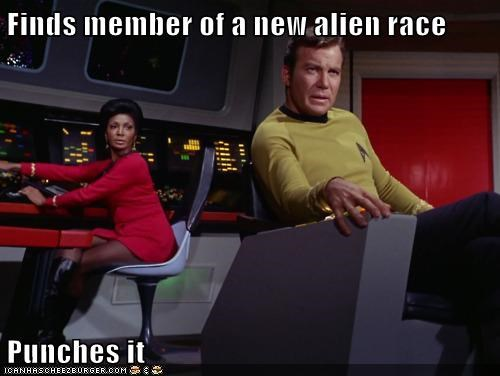 alien,Captain Kirk,Nichelle Nichols,punching,scumbag,Shatnerday,Star Trek,uhura,William Shatner