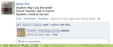 ask,bathroom,facebook,french,homophone,oui,question,wee