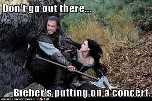 chris hemsworth,concert,dont-go,horror,justin bieber,kristen stewart,protect,snow white and the huntsman