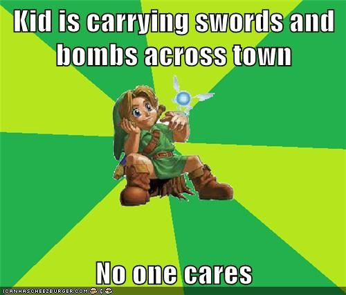 Kid is carrying swords and bombs across town  No one cares