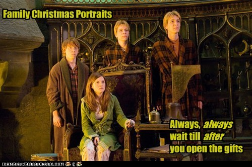 after,christmas photo,family,gifts,Harry Potter,opening presents,Ron Weasley