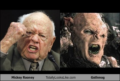 Mickey Rooney Totally Looks Like Gothmog (LOTR)