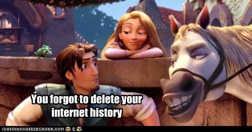 Flynn Rider,forgot,horse,internet history,rapunzel,tangled