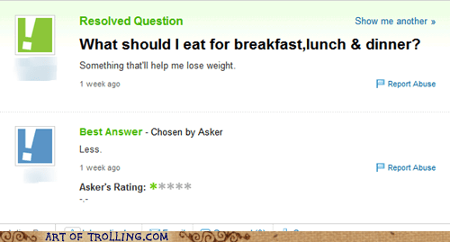 diet,eating,weight loss,Yahoo Answer Fails