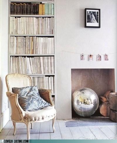 bookcase,disco ball,magazines,shelves