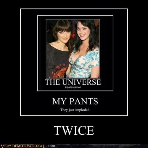hilarious,katy perry,pants,twice,Zoey Deschanel