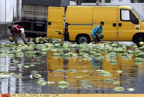 accident,float,flood,spill,truck,water,watermelon