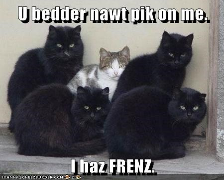 U bedder nawt pik on me.  I haz FRENZ.