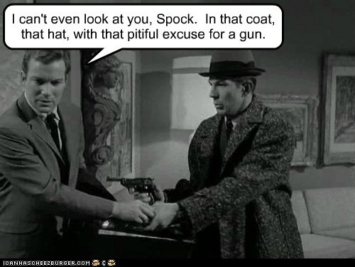 coat,gun,Leonard Nimoy,Shatnerday,Spock,the man from UNCLE,William Shatner