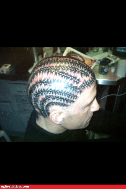 corn rows,g rated,hairstyles,head tattoos,Ugliest Tattoos
