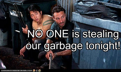 andrew garfield,garbage,glenn,guns,Rick Grimes,stealing,Steven Yeun,The Walking Dead