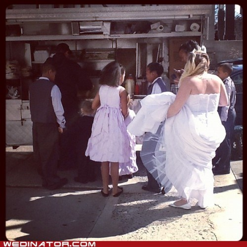 bride,funny wedding photos,hot dogs,kabobs,street food