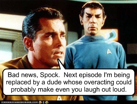 captain pike,laugh,Leonard Nimoy,overacting,pilot,Spock,Star Trek,the cage,William Shatner