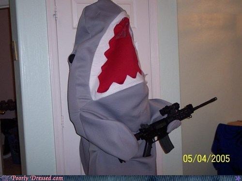 costume,g rated,gun,poorly dressed,shark,what