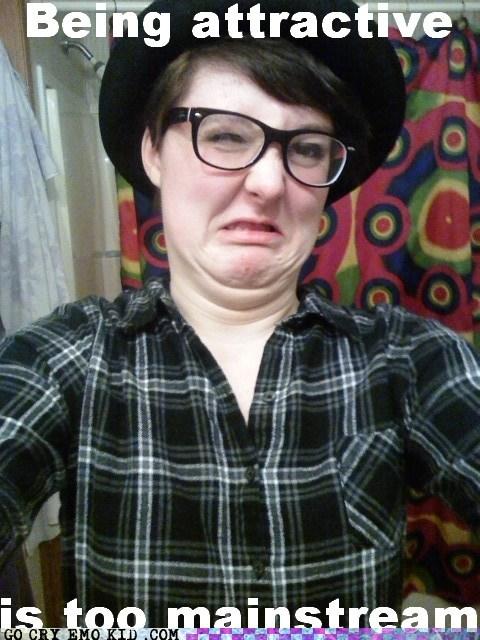attractiveness,hipsterlulz,ironically,mainstream,profile pics