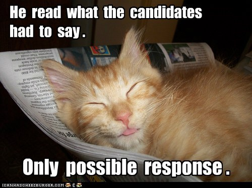 He  read  what  the  candidates  had  to  say .