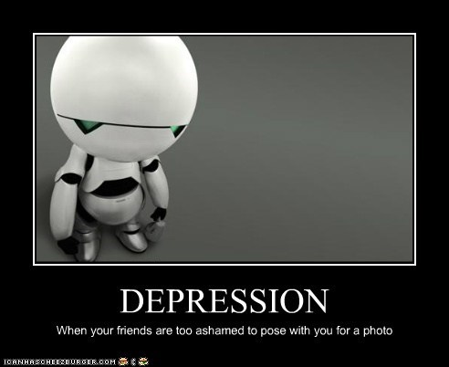 ashamed,depression,friends,Hitchhikers Guide To the Galaxy,marvin,Photo,pose