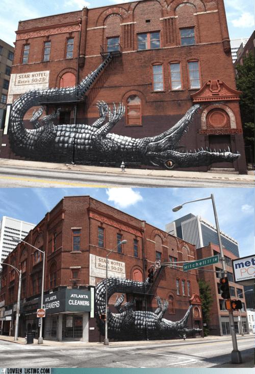 art,crocodile,fire escape,mural